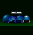 set of baseball helmets vector image