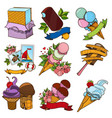 set of different kinds of ice cream desserts and vector image