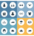 set of simple dress icons vector image vector image