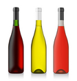 three bottles wine vector image vector image
