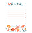 to-do list with mermaids and sea animals vector image