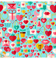 Valentine Day Flat Design Blue Seamless Pattern vector image