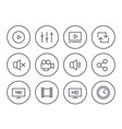 video player line icons set on white vector image vector image