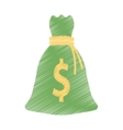 hand draw bag money dollar cash color vector image