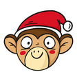 monkey in Santas hat chinese new year 2016 symbol vector image