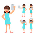 selfie photo portrait cute young girl geek hipster vector image