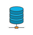 data storage flat line icon vector image