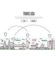travel usa poster in linear style vector image