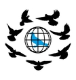 doves silhouette against the background of globe vector image