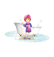 A woman near the bathtub vector image vector image