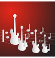 Abstract Red Music Background Guitars and Staff vector image vector image
