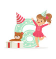 adorable happy six year old girl in a party hat vector image vector image