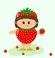 baby in a strawberry suit vector image