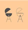 barbecue or grill dark grey set icon vector image vector image