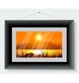 Black frame with the picture of landscape vector image vector image