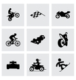 black racing icons set vector image vector image