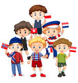 boys holding flags from different countries vector image vector image