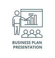 business plan presentation line icon vector image vector image