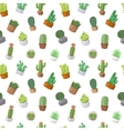 Cactus doodle seamless pattern vector image vector image