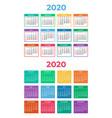 calendar for 2020 on white background vector image