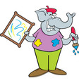 cartoon elephant holding a paintbrush and a painti vector image vector image
