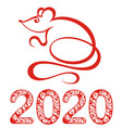 chinese zodiac sign year rat vector image vector image
