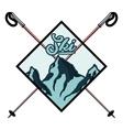 Color vintage Ski sport emblem vector image vector image