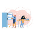 couple cooking at home vector image vector image