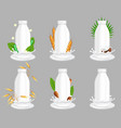 cows and plant milk bottle package vector image