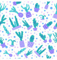 cute cactus seamless pattern vector image