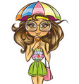 cute summer girl eating ice cream vector image
