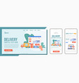 delivery service landing page vector image