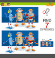 differences game with robot characters vector image vector image