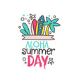 doodle with surfing boards and palm tree aloha vector image