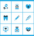 drug icons colored set with pulse tooth remedy vector image