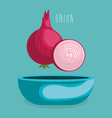 fresh onion in bowl vegetarian food vector image vector image