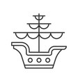 galleon outline icon on white background vector image vector image