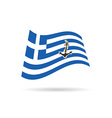 greek flag with anchor on it vector image