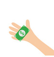 hand arm holding paper money dollar sign helping vector image vector image