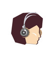 head of young man with headphone vector image vector image