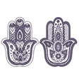 Indian hand drawn hamsa with ornaments