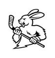 jackrabbit with ice hockey stick mascot black and vector image vector image