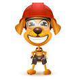 labor day yellow dog builder in protective helmet vector image vector image