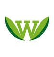 letter w leaf logo icon nature concept vector image vector image
