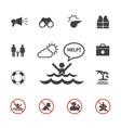 lifeguard and beach warning icon set vector image