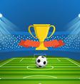 Light stadium mast Stadium with green footb vector image vector image