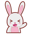 line color adorable and cheerful rabbit wild vector image vector image