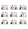 male office worker daily work scenes with vector image vector image