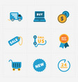 modern colorful shop icons on black vector image vector image