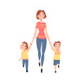 mother taking her two little sons to school or vector image vector image